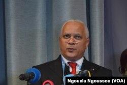 Jean Marc Tyster Tchicaya, ministre des Hydrocarbures, à Brazzaville, au Congo, le 27 avril 2017. (VOA/Ngouela Ngoussou)