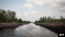 FILE - This picture taken on June 8, 2016 shows a waterway in the Niger Delta. The oil rich Delta region in Nigeria has seen the rise of a new militant group that has vowed to cripple the economy, due to the actions of the Delta Avengers Nigeria's oil pr