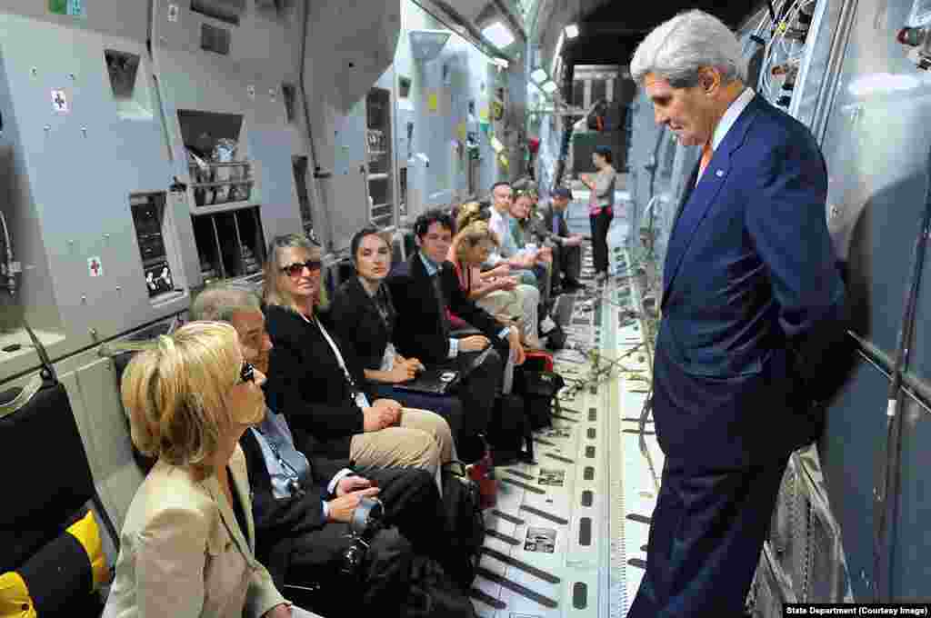 Secretary Kerry Talks With Traveling Press Corps En Route to Iraq.