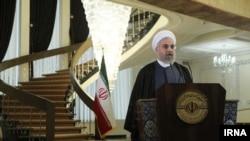 Tổng thống Iran Hassan Rouhani đọc diễn văn sau khi đạt được thoả thuận với 6 cường quốc ở Lausanne, Thụy Sĩ