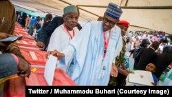 Le président Muhammadu Buhari lors de l'élection du président de son parti APC (All Progressives Congress) à Abudja, Nigeria, 24 juin 2018. (Twitter/ Muhammadu Buhari)
