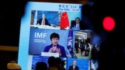 """资料照片:国际货币基金组织总干事、前世界银行行长格奥尔基耶娃在北京举行的第五次""""1+6""""圆桌对话后通过视频连线参加一次记者会。(2020年11月24日)"""