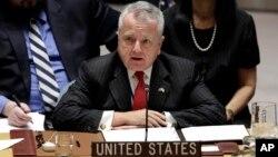 Deputi Menlu AS John Sullivan berbicara dalam pertemuan tingkat tinggi DK PBB tentang Afghanistan di New York, hari Jumat (19/1).