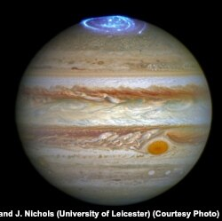 Hubble Telescope captures auroras in Jupiter's atmosphere