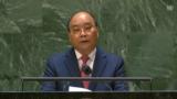 Chủ tịch Nguyễn Xuân Phúc phát biểu tại phiên thảo luận chung cấp cao Đại hội đồng LHQ Khóa 76 tại New York, Hoa Kỳ, ngày 22-9-2021, theo giờ Hoa Kỳ. Photo chụp từ UN Web TV.