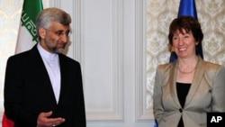 터키에서 열린 핵회담에 참석한 캐서린 애슈턴 유럽연합(EU) 외교ㆍ안보정책 고위대표와 사이드 잘릴리 이란 핵 협상 대표