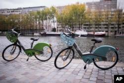 FILE - Velib bikes are pictured in Paris, Oct. 25, 2017.