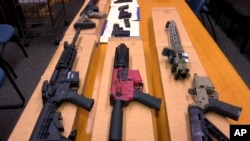 Những khẩu 'súng ma' đang được trưng bày tại Trụ sở Sở Cảnh sát San Francisco