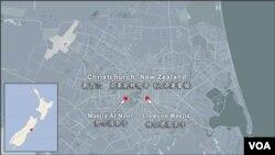 新西兰克莱斯特彻奇发生枪击惨案的两座清真寺地理位置示意图