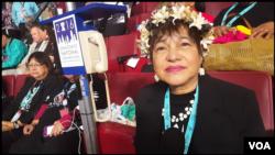 Judith Won Pat, Guam delegate at the Democratic National Convention in Philadelphia, Pennsylvania, July 27, 2016. (Photo: Bill Gallo / VOA )