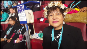 Judith Won Pat, Guam delegate at the Democratic National Convention in Philadelphia, Pennsylvania, July 27, 2016. (Photo: Bill Gallo / VOA )