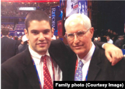 Gary Lavine, right, with his son, Drew, at 2012 Republican Convention.