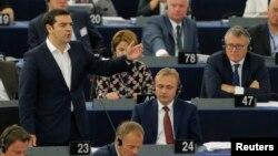 Прем'єр-міністр Греції Алексіс Ципрас виступає в Європарламенті. 8 липня, 2015.