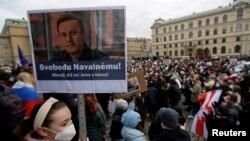 Акция в поддержку Алексея Навального в Праге
