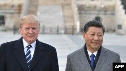 美国总统特朗普和中国国家主席习近平在紫禁城合影。(2017年11月8日)