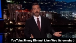 Jimmy Kimmel speaks to the audience at the start of his show, Jimmy Kimmel Live, on Monday night.