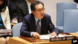 South Korea's United Nations Ambassador Cho Tae-yul speaks after a vote to adopt a new sanctions resolution against North Korea during a meeting of the U.N. Security Council at U.N. headquarters, Monday, Sept. 11, 2017.