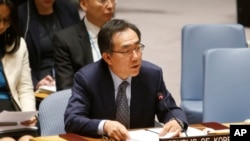 South Korea's United Nations Ambassador Cho Tae-yul speaks after a vote to adopt a new sanctions resolution against North Korea.