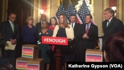 Tina Meins, who lost her father in the December 2015 San Bernardino mass shooting, thanked Senate Democrats for a filibuster to bring gun control legislation to the Senate floor, in Washington, June 16, 2016.