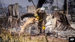 Petugas pemadam kebakaran di San Bernardino County berupaya melakukan pencarian korban di sepanjang rute 138 di Phelan, California, 17 Agustus 2016 (Foto: dok).