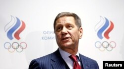 FILE - Russian Olympic Committee head Alexander Zhukov addresses journalists after an extraordinary meeting on issues, connected with Russian athletics team and federation, and held by the executive committee of the Russian Olympic Committee in Moscow, No
