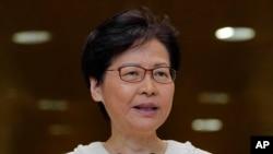 香港特首林郑月娥2019年9月10日在记者会上。