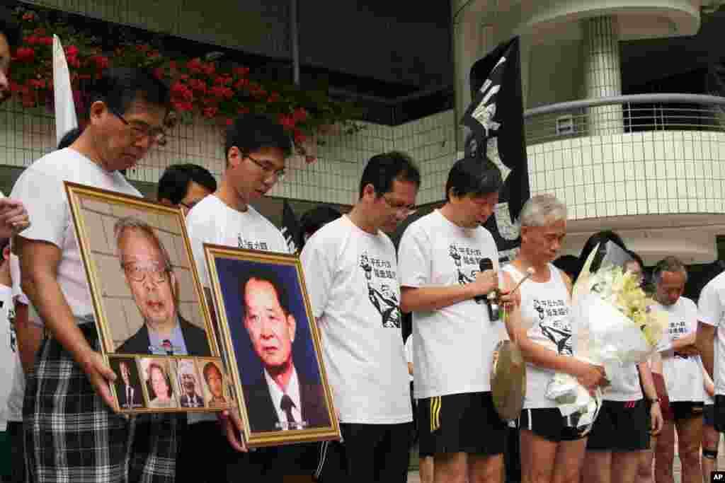 香港长跑活动人士起跑前默哀一分钟