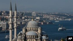FILE - Istanbul's skyline and the Bosphorus, July 9, 2015.