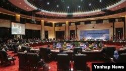 지난 26일 라오스 비엔티안 국립컨벤션센터(NCC)에서 아세안 지역안보 포럼(ARF)이 열리고 있다.