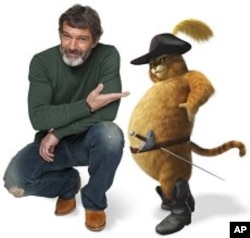 "Antonio Banderas voices Puss In Boots in ""Shrek Forever After"""