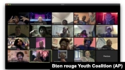 This photo shows high school seniors who attended a virtual prom via Zoom on April 16 hosted by the Baton Rouge Youth Coalition. (Baton Rouge Youth Coalition via AP)