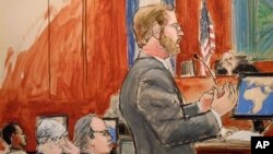 In this courtroom sketch, Assistant U.S. Attorney Nicholas Lewin, foreground, gives his opening statement to the jury in the trial of Ahmed Khalfan Ghailani, left, as lead defense attorney Steve Zissou, third from left, and Judge Lewin Kaplan, right, look