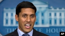 FILE - Rajiv Shah, head of the U.S. Agency for International Development, speaks at the White House in Washington, Oct. 3, 2014.