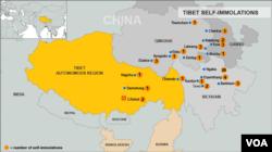 Bản đồ những nơi xảy ra các vụ tự thiêu ở Tây Tạng
