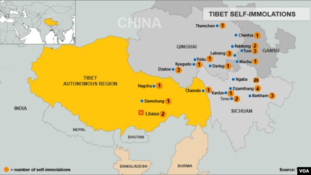 Tibet Self-Immolation Map, October 23, 2012.