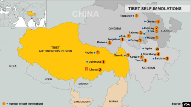 Tibet Self-Immolation Map, October 23, 2012.