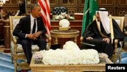 FILE - U.S. President Barack Obama meets with Saudi Arabia's King Salman at Erga Palace in Riyadh, Jan. 27, 2015.