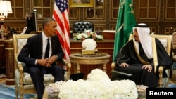 U.S. President Barack Obama meets with Saudi Arabia's King Salman at Erga Palace in Riyadh, Jan. 27, 2015.