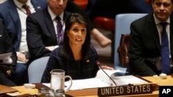 Duta Besar AS di PBB, Nikki Haley mendesak tindakan tegas terhadap Korea Utara.