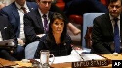 """La embajadora de EE.UU. ante la ONU, Nikki Haley, pidió a las naciones aplicar las nuevas sanciones contra Corea del Norte en forma """"completa y agresiva""""."""