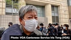 支聯會主席李卓人表示,西九法院大樓外排隊聲援的人潮,反映國安法震懾下香港人心不死 (攝影:美國之音湯惠芸)