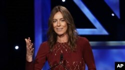 "FILE - In this Nov. 9, 2013, file photo, director Kathryn Bigelow accepts the John Schlesinger Britannia Award for Excellence in Directing during the 2013 BAFTA Los Angeles Britannia Awards in Beverly Hills, Calif. Bigelow directed the film ""Detroit."""