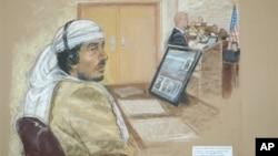 2008년 미 관타나모 기지의 군사법정에 출석한 살림 아흐메드 함단의 스케치.