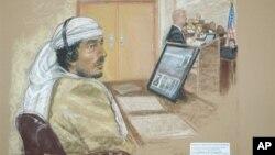 Bức phác họa bị cáo Salim Hamdan tại phiên tòa vào năm 2008