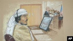 2008년 쿠바 관타나모 미군기지 재판소에 출두한 테러 사건 피의자 살림 아흐메드 함단의 스케치. (자료사진)