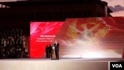 Premijer Crne Gore Milo Đukanović prilikom obraćanja na centralnoj svečanosti proslave 10. godišnjice obnove nezavisnosti