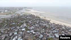 Drone footage shows destruction after Cyclone Idai in the settlement of Praia Nova, which sits on the edge of Beira, Mozambique, March 18, 2019