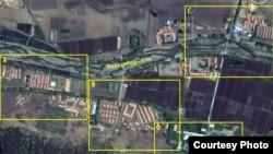 지난 2011 촬영한 북한의 정치범수용소, 22호 회령 관리소의 위성 사진. 디지털글로브 제공.
