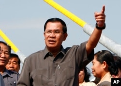 FILE - Cambodian Prime Minister Hun Sen, delivering a speech in Phnom Penh.