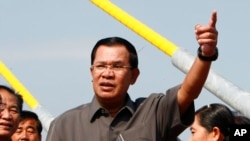 FILE - Cambodian Prime Minister Hun Sen, delivering a speech in Phnom Penh in January.